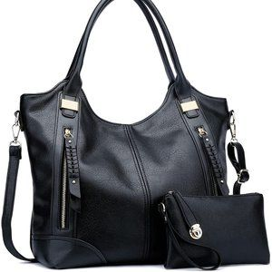 NEW 2pcs Large Concealed Carry Hobo Bags, black